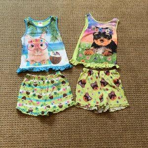 Two girls size 7/8 summer pajama sets